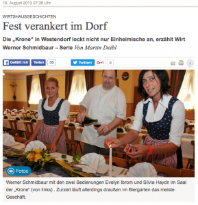 Zur Krone Westendorf bei den Wirtshausgeschichten der Augsburger Allgemeinen